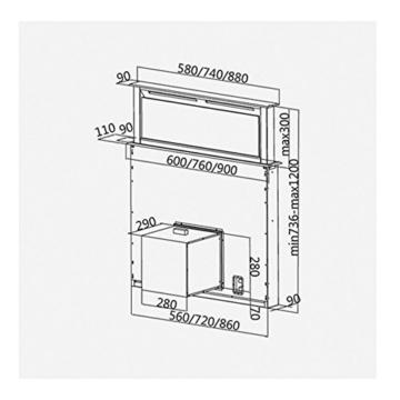 KKT KOLBE DRAFT900 Tischhaube / Dunstabzugshaube / 90cm / ausfahrbar / LED-Beleuchtung / 1000cbm/h -