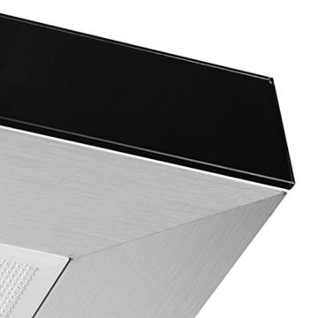 Klarstein 90TS1 Dunstabzugshaube Inselhaube gebürsteter Edelstahl 90 cm mit Option Umrüstung auf Umluftbetrieb (500 m³/h-Abluftleistung, 3 Leistungsstufen, Touchpad-Armatur Sicherheitsglas) Silber -