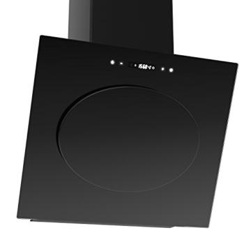 NEG Dunstabzugshaube KF632A+ (Abluft/Umluft) kopffrei mit LED-Beleuchtung, Randabsaugung, Glas schwarz, 60cm, sehr leise (60dB), Motorleistung 850m³/h -
