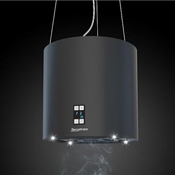 Bergstroem Design Inselhaube Dunstabzugshaube freihängend Deckenhaube matt Schwarz -