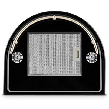 Klarstein Noir Prima Dunstabzugshaube Retrohaube Wandhaube (60 cm breit, 430m³/h Abluftleistung, 3 Leistungstufen, optionaler Umluftbetrieb, Edelstahl) schwarz -